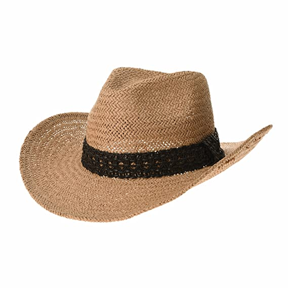 9532824640a WITHMOONS Western Cowboy Hat Cool Paper Straw Banded Chin Strap GN8747  (Beige)