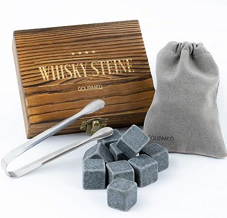 GOURMEO - Piedras de Whisky - Set de 9 Cubitos Reutilizables de Esteatita Natural - Whisky Stones para Enfriar Bebidas Vino, Vodka, Ron - Libre de ...
