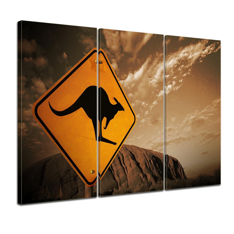 Kunstdruck - Ayers Rock - Australien - sephia - Bild auf Leinwand - 120x80 cm 3tlg - Leinwandbilder - Landschaften - Nationalpark - Wüste - Berg - Symbol - Känguru