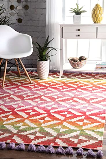 Amazon.com: Modern Area Rug Multi Color Design Striped Tiles ...