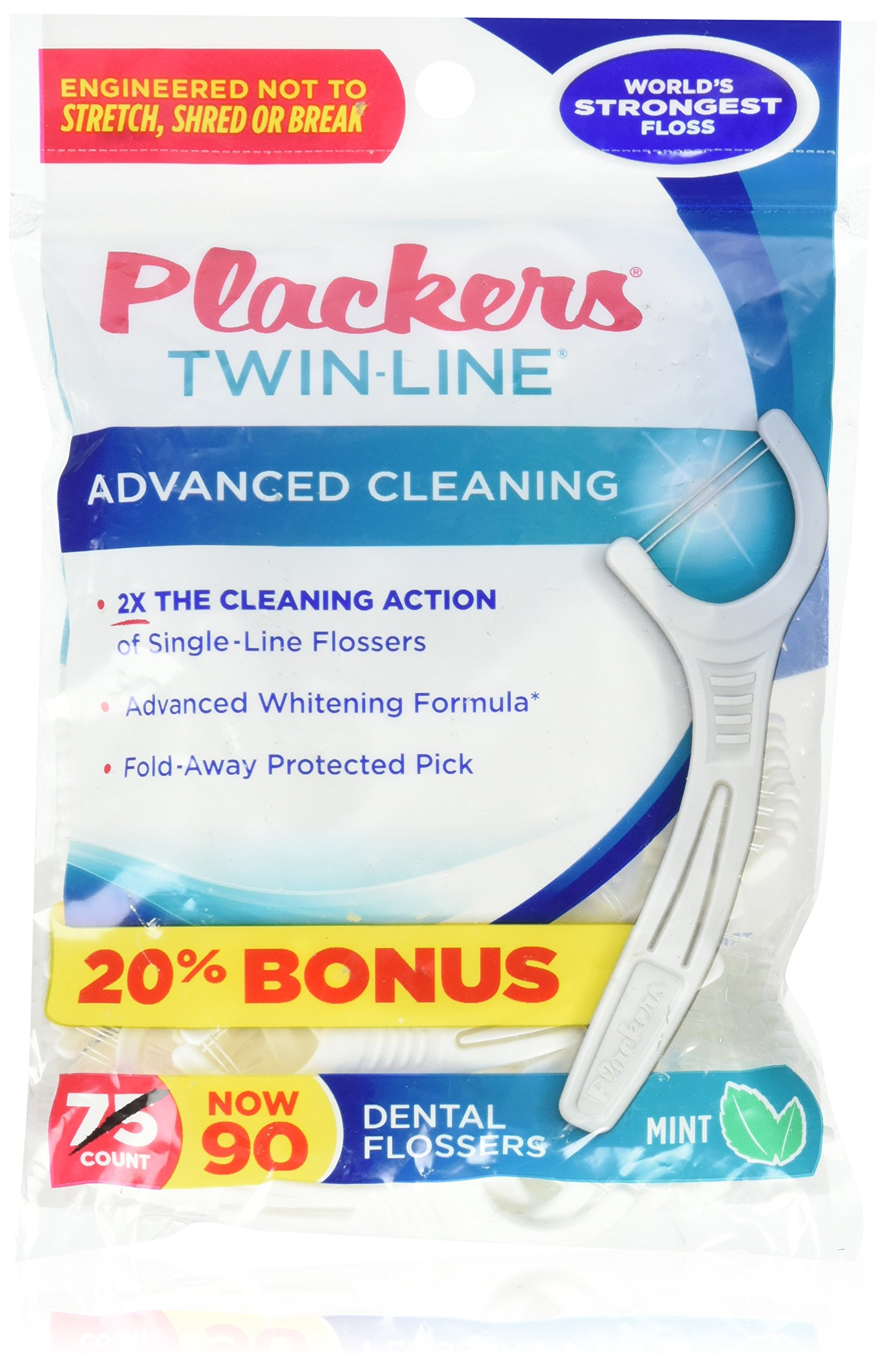 Plackers Twin Line Whitening Flosser, 75 count (Pack of 72)
