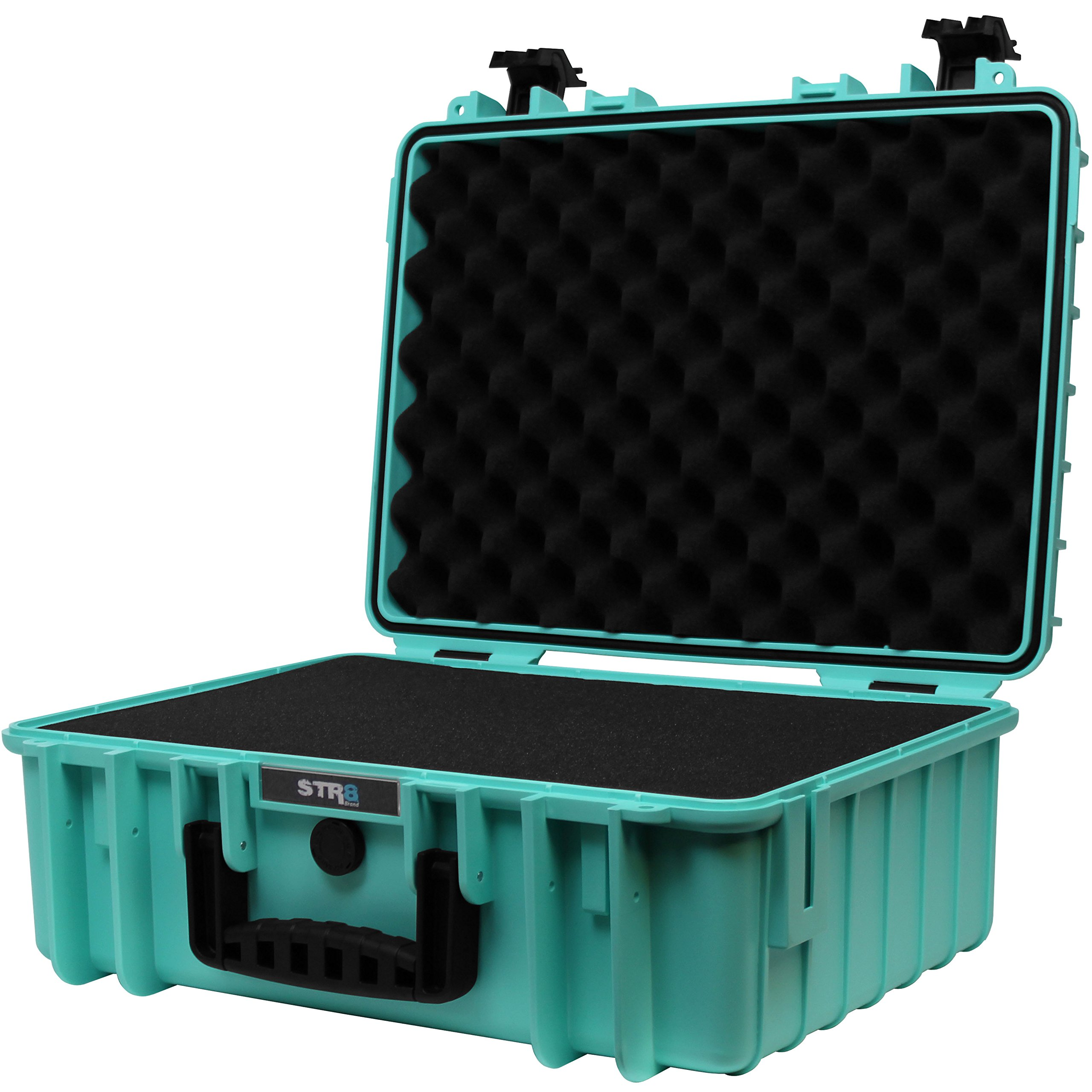 STR8Brand 17'' Weather Resistant, Smellproof, Lockable, Glass Protector, Outdoor Carrying Case for Multi-Purpose with Pluck Foam (STR8 Teal) - STR8 Brand