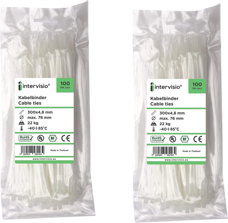 Blanco 200 Piezas intervisio Bridas de Plastico para Cables 300mm x 4,8mm