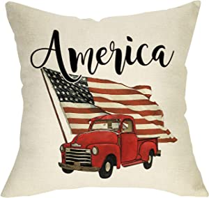 Softxpp Home Decorative Throw Pillow Cover American Flag Sign, July 4th USA Patriotic Cushion Case Vintage Red Truck Decor, Spring Summer Holiday Decoration Seasonal Pillowcase for Sofa Couch 18 x 18