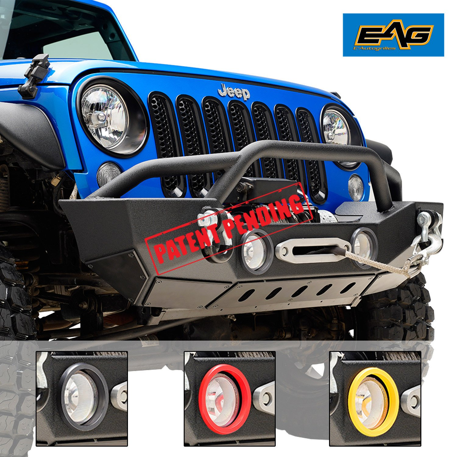 Eag 07 18 Jeep Wrangler Jk Front Bumper Rock Crawler With Oe Fog Lights Light Housing And