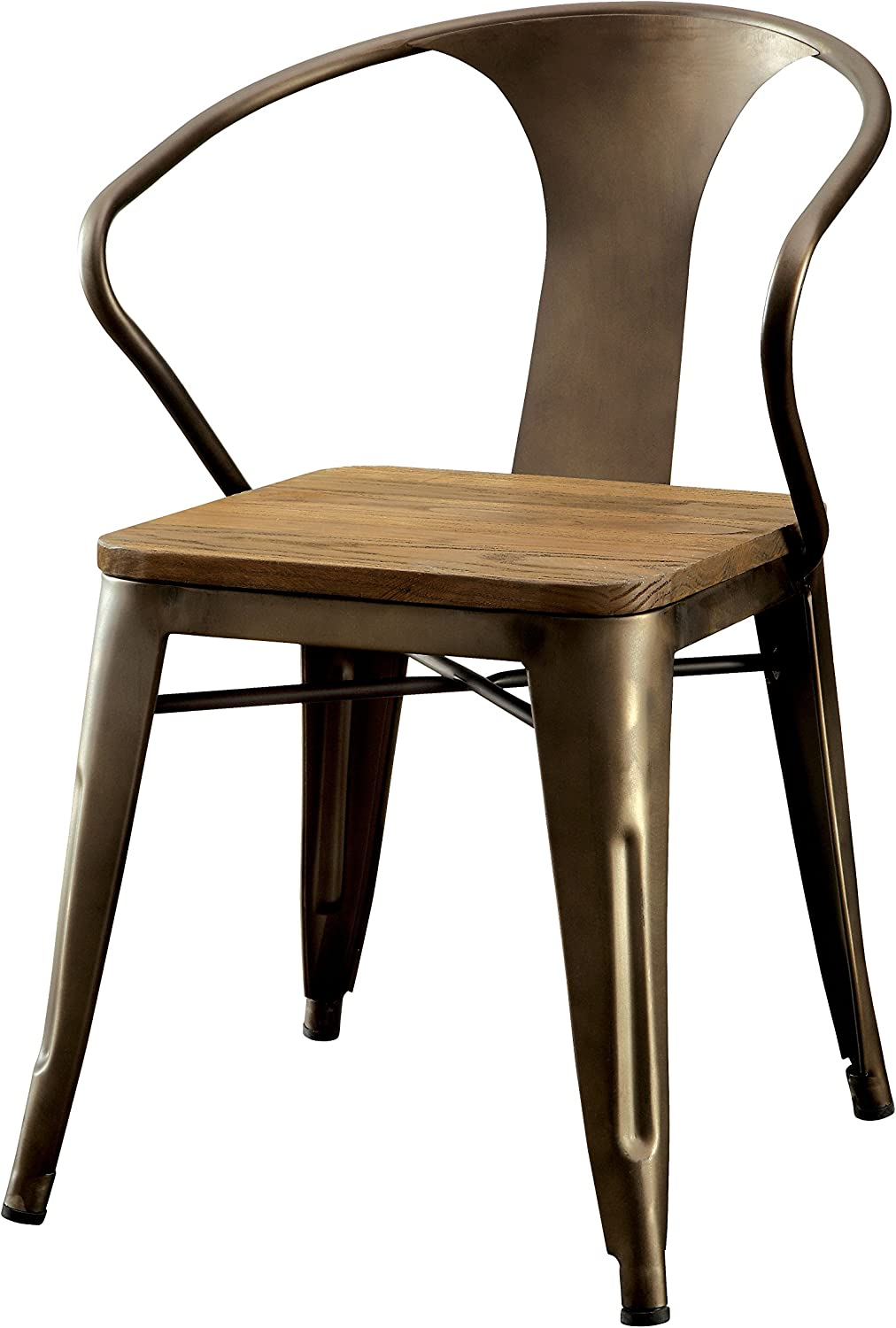 Furniture of America Cadiz Industrial Dining Chair, Natural Elm Finish, Set of 2
