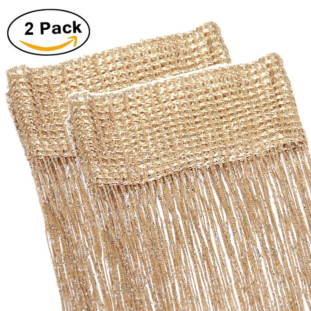 Ewparts 2 PCS Glitter Spaghetti String Dew Drop Curtains Panel Window Door Wedding Decor Fly Screen 39