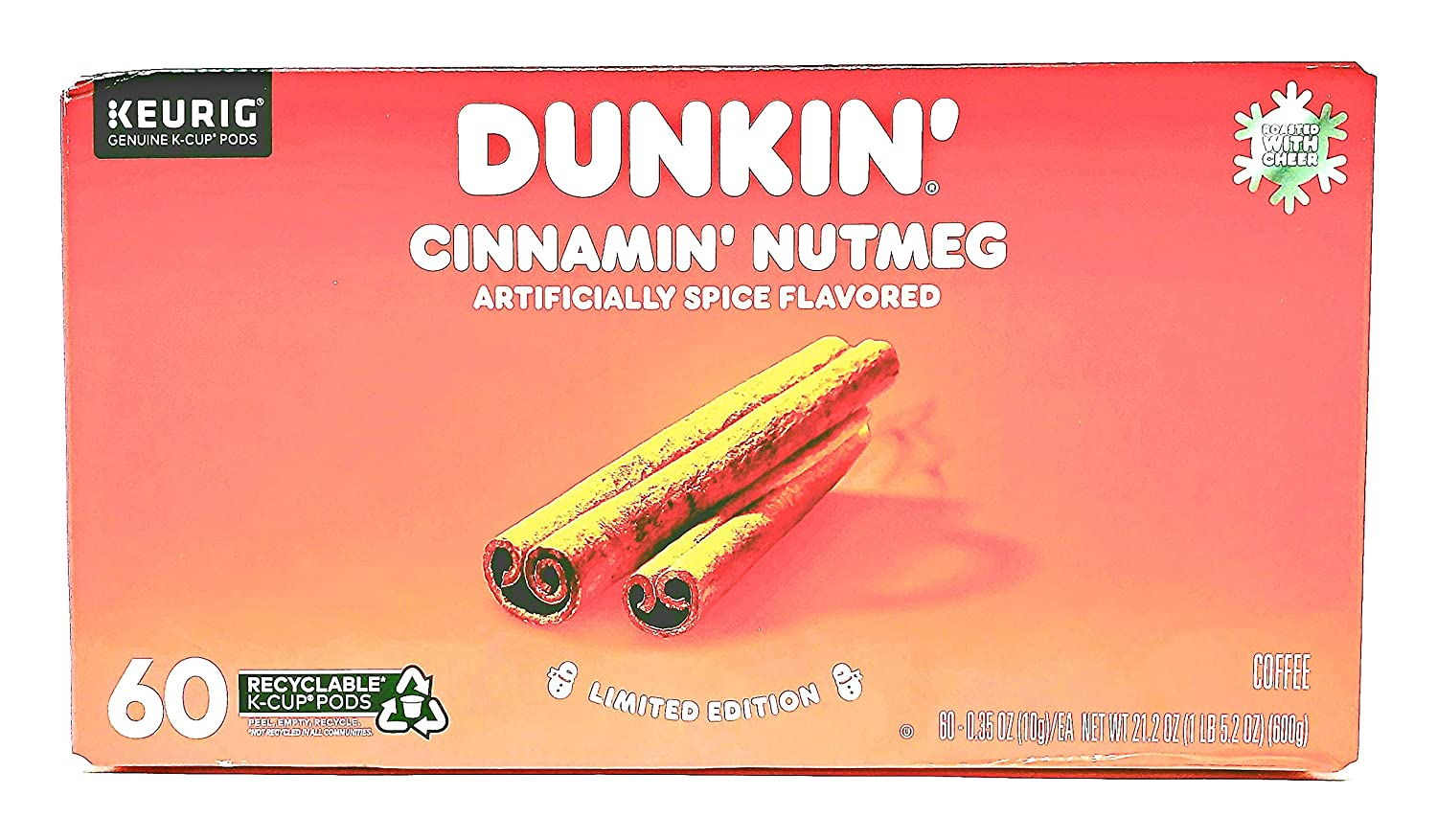 Dunkin Donuts Cinnamin' Nutmeg K Cup Coffee Pods - Limited Edition - 60 Count of Single Serve KCups - Spice Blend of Cinnamon, Nutmeg and Sweet Brown Sugar Flavored Coffee - Recyclable K Cup Pods