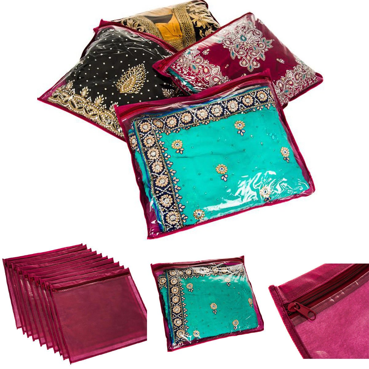FiNeWaY@ 20 x CLEAR SAREE CLOTHES GARMENT SARI STORAGE BAGS WARDROBE ORGANISER MAROON
