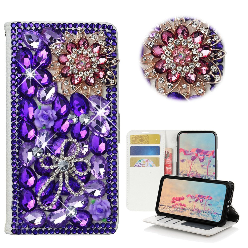 STENES LG V20 Case - Stylish - 3D Handmade Bling Crystal Luxury Flowers Desgin Wallet Credit Card Slots Fold Media Stand Leather Cover Case - Deep Purple
