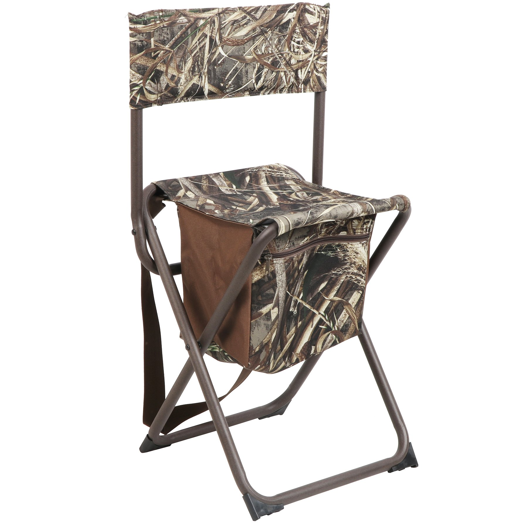 PORTAL Multifunctional Foldable Outdoor Chair Portable Fishing Stool with Storage Pocket, Camouflage by Timber Ridge