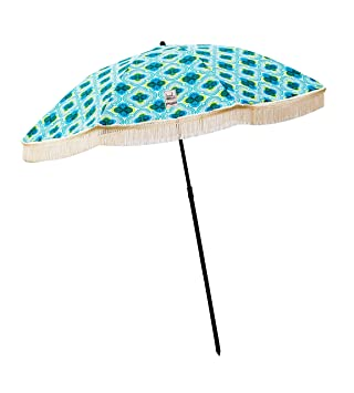 Beach Umbrella, Mermaid with Fringe, Designed by Beach Brella / 100% UV Sun Protection, Lightweight, Portable & Easy to Setup in The Sand and Secure in The Wind