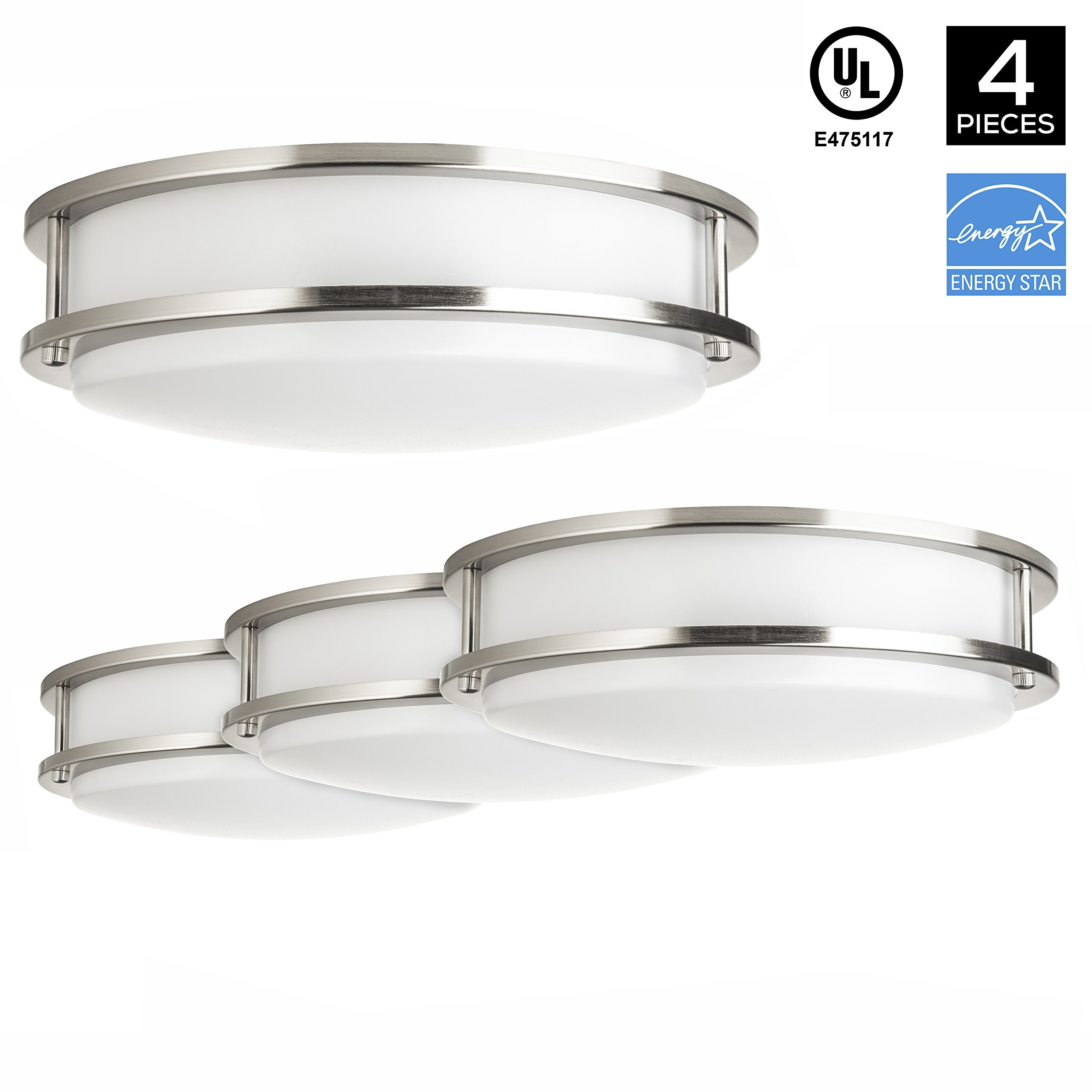 Hyperikon LED Flush Mount Ceiling Light, 14'', 25W (100W equivalent), 2270lm, 3000K (Soft White Glow), 120V, UL and ENERGY STAR Listed, 14-Inch Flush Mount, Dimmable - (Pack of 4)