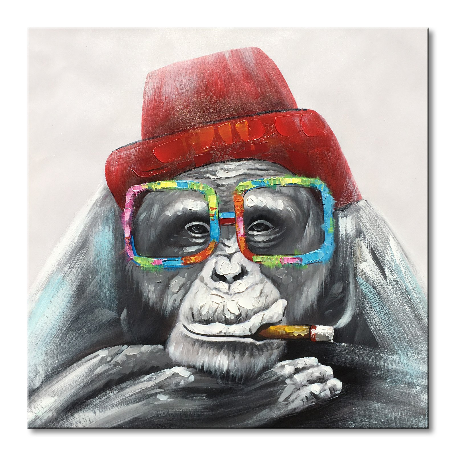 EVERFUN ART Everfun Framed Canvas Wall Art Gorilla Monkey In a Red Hat Handmade Animal Oil Painting Abstract Home Decor for Bedroom Ready to Hang 32x32