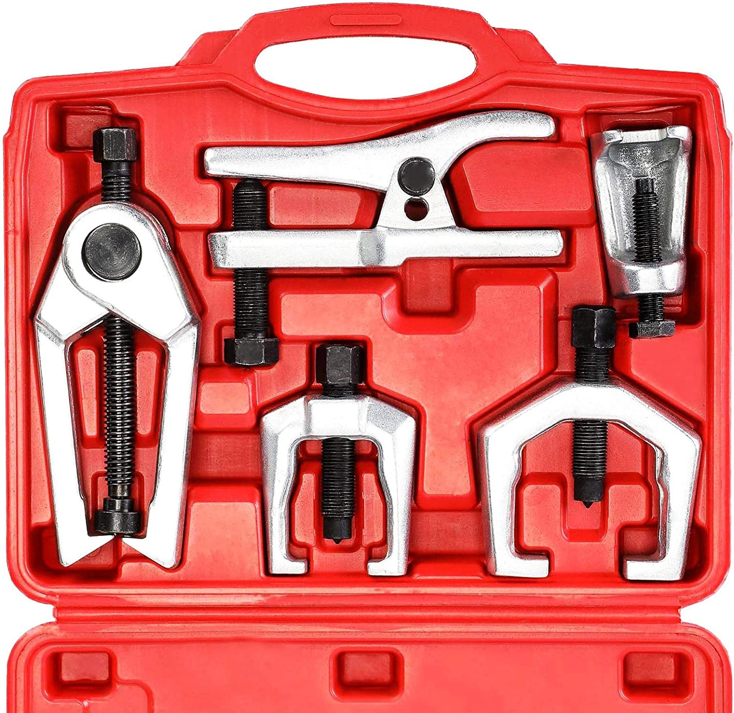 N A YSTOOL Front End Service Tool Set with Automotive Ball Joint Separator Tie Rod End Puller Pitman Arm Remover 5 PCS Removal Splitter Kit for Car SUV Light Truck Pickup