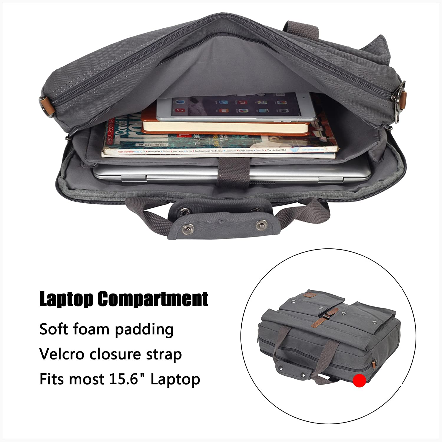 0df1448cd7 Amazon.in  Buy Hynes Eagle 17-Inch Soft Canvas Laptop Messenger Bag Carry  on Computer Travel Bag (Gray) Online at Low Prices in India