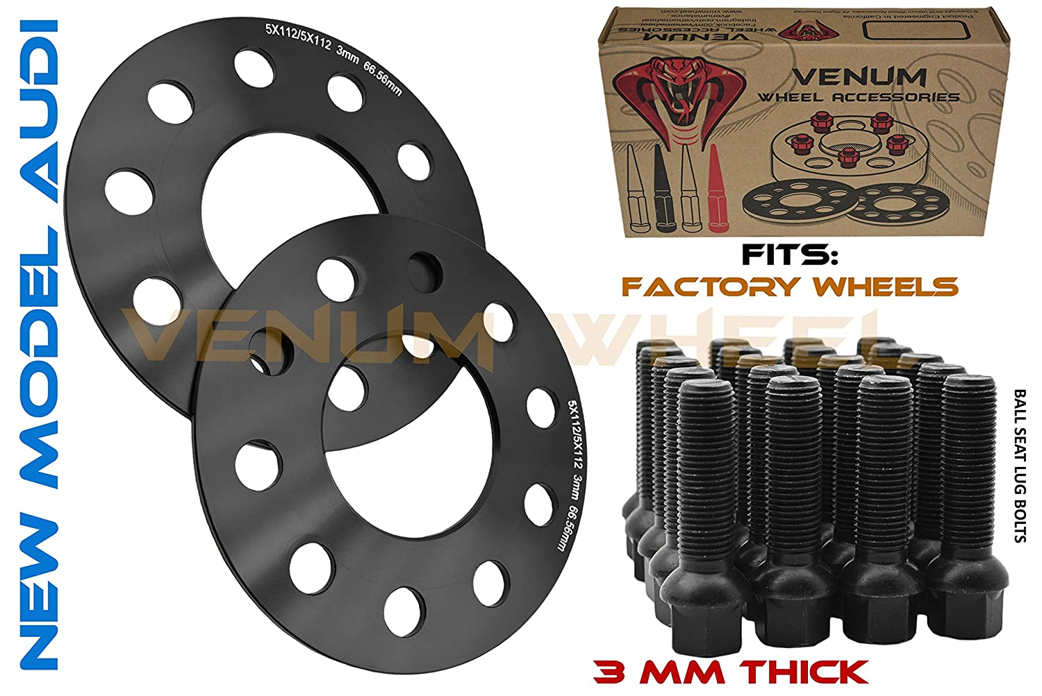 2009-2018 A4 A5 A6 A7 A8 All Road S4 S5 S6 S7 RS5 RS7 Q5 SQ5 W//OEM Wheels Hubcentric Wheel Spacers 5x112 66.56 Black Ball Seat Lug Bolts 14x1.5 2pc of 25mm 1