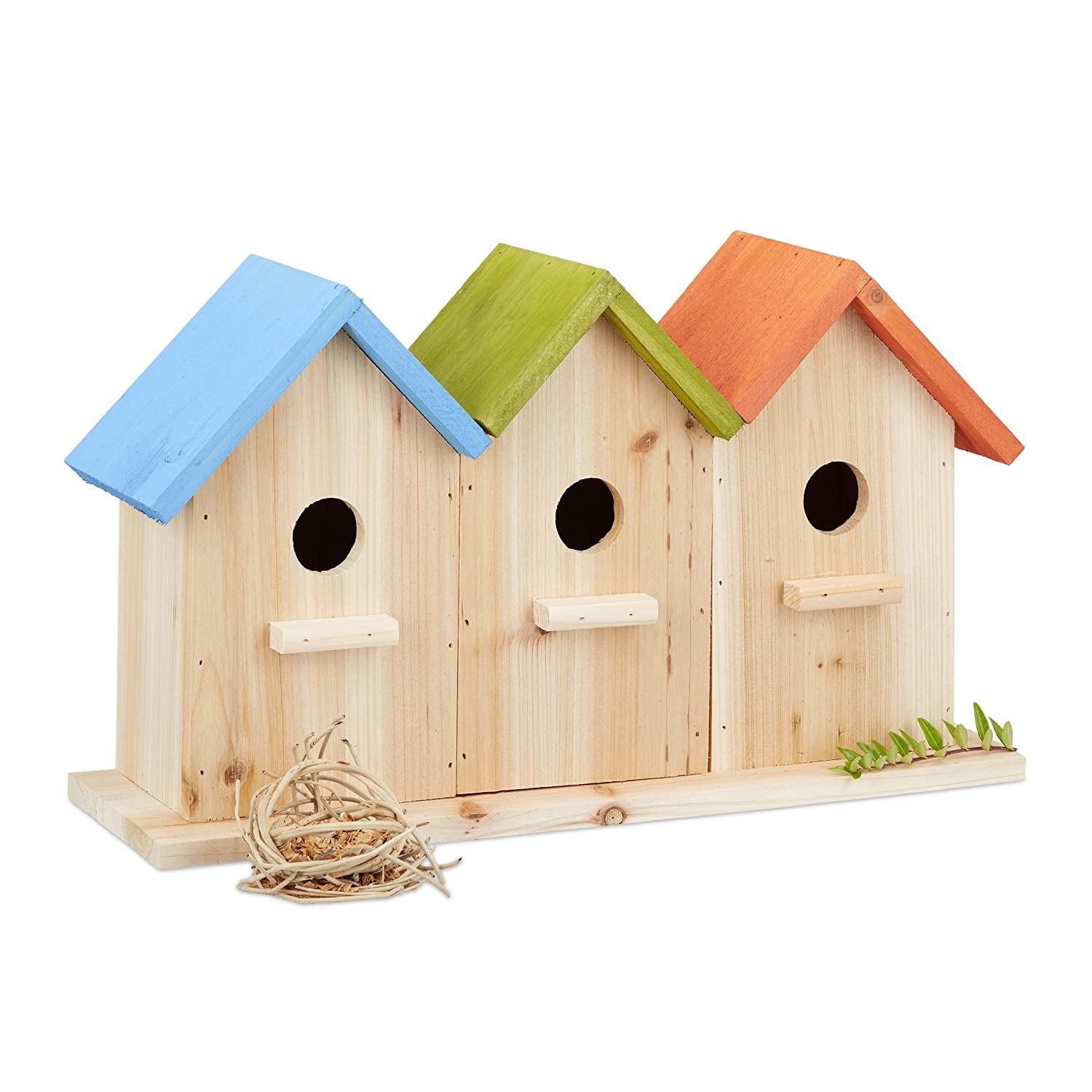 Relaxdays Wooden Birdhouses, 3 Nesting Boxes, Decorative Breeding Aid for Balcony or Garden, HxWxD: 23 x 40 x 12.5 cm, Colourful 10023161