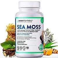 Inner Brightness Organic Irish Sea Moss Capsules Max Absorption + 95% Turmeric Curcumin with Bladderwrack and Burdock Root (1500mg), Vegan Keto Non-GMO Cell Food for Immune and Thyroid Support Pills