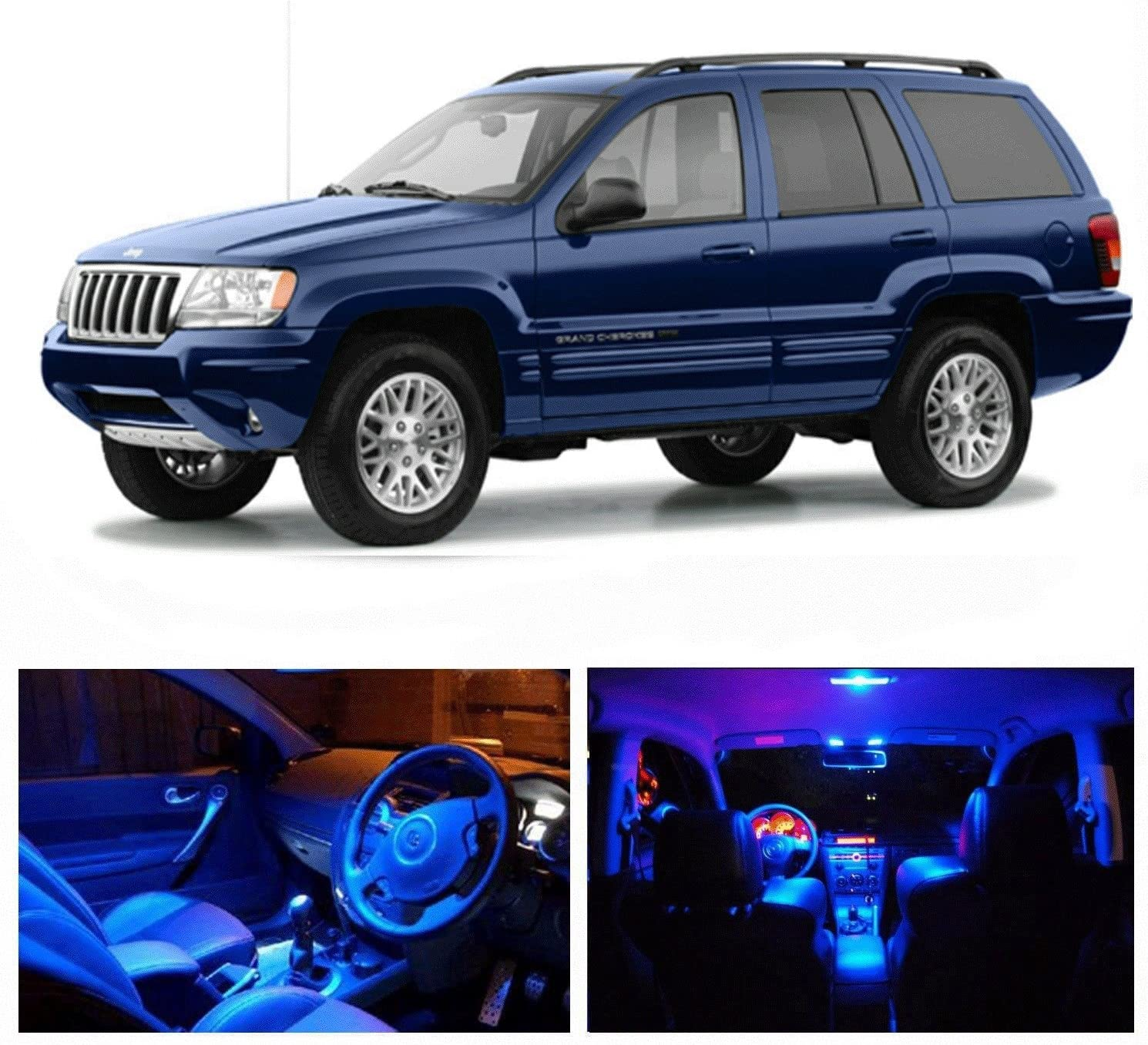 amazon com led blue lights interior package kit for jeep grand cherokee 1999 2004 13 pcs automotive led blue lights interior package kit for jeep grand cherokee 1999 2004 13 pcs