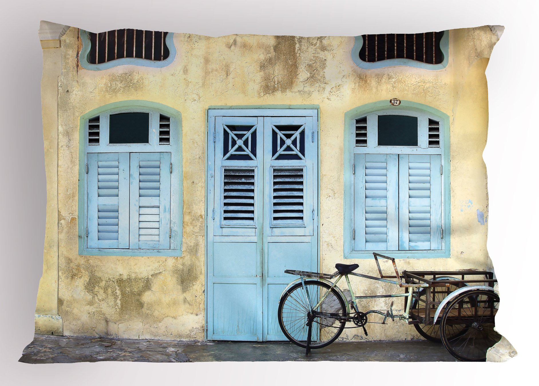 Lunarable Urban Pillow Sham, Traditional House Facade with Colorful Door Windows Old Street Malaysia Photo, Decorative Standard Queen Size Printed Pillowcase, 30 X 20 inches, Baby Blue Ivory