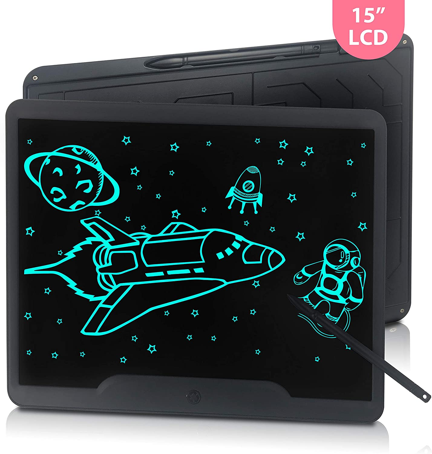 15 inch LCD Writing Drawing Tablet, JONZOO Electronic Blackboard Digital Erasable Memo Pad Message Board for Kids Adults at Home School Office, Black