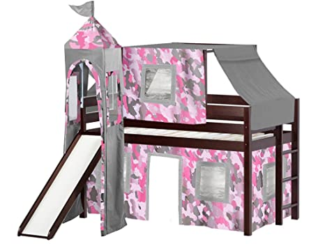 Marvelous Jackpot Princess Low Loft Bed With Slide Pink Camo Tent And Tower Loft Bed Twin Cherry Andrewgaddart Wooden Chair Designs For Living Room Andrewgaddartcom