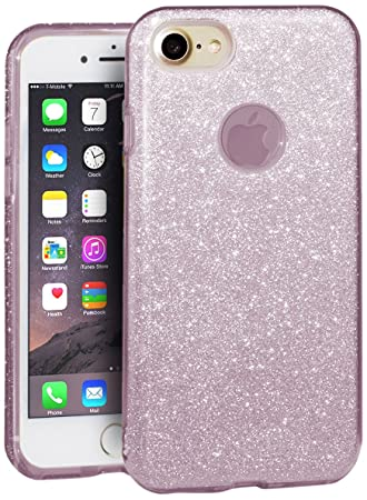 EGO ® Carcasa Brillante para iPhone 6 6S, Rosa Funda Protección Case Brocado Silicona Elastica Diamante Luxus