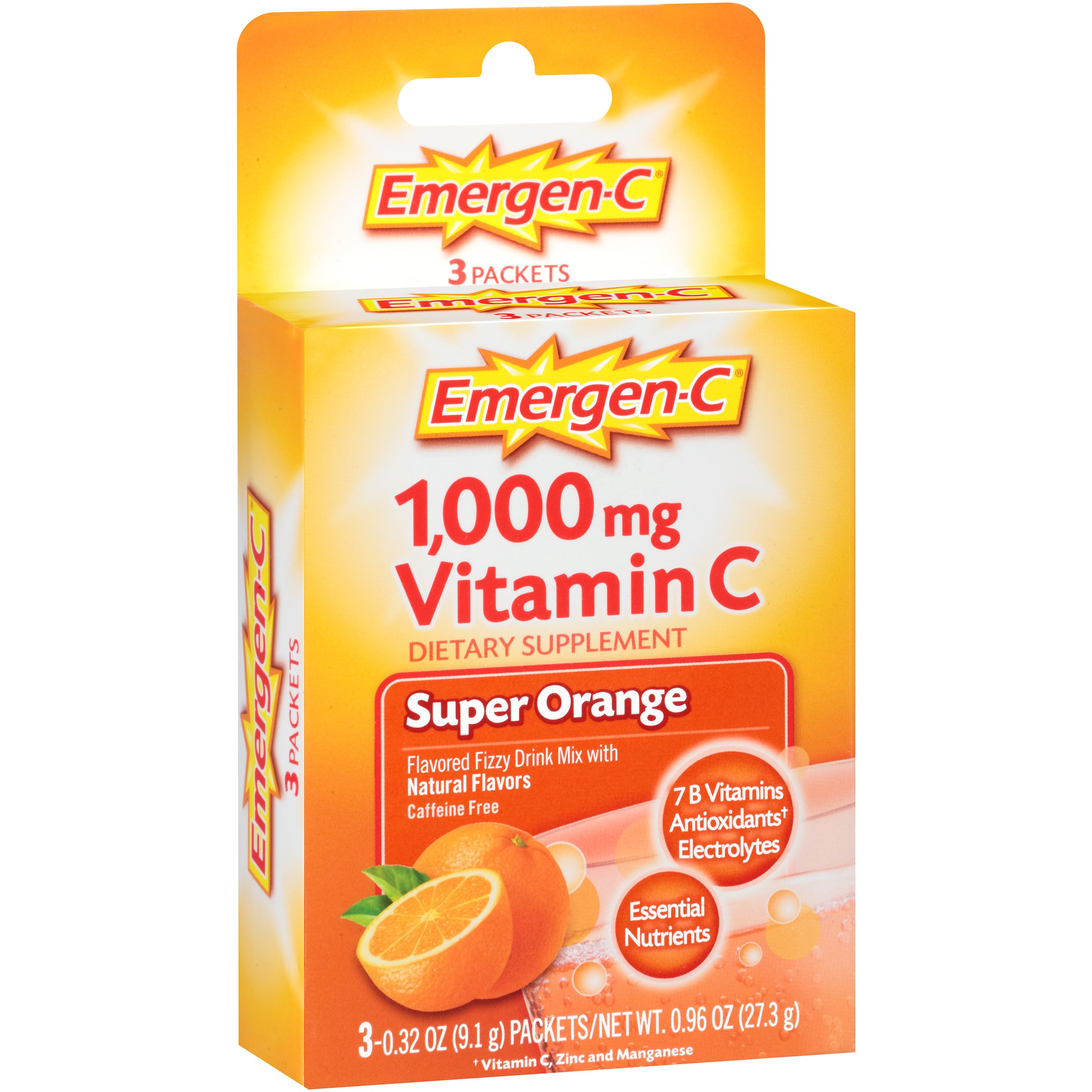 Emergen-C (3 Count, Super Orange Flavor) Dietary Supplement Fizzy Drink Mix with 1000mg Vitamin CC, 0.32 Ounce Packets, Caffeine Free