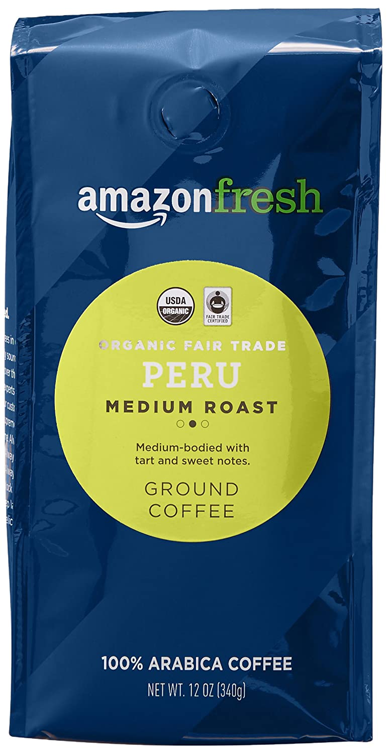 AmazonFresh Organic Fair Trade Peru Ground Coffee, Medium Roast, 12 Ounce