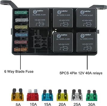universal automotive fuse box amazon com jamgoer universal 12v car marine 6 way relay 6 slot  amazon com jamgoer universal 12v car