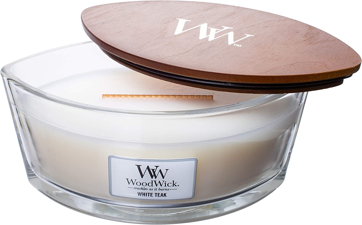 WoodWick WW White Teak, Highly Scented Candle, Ellipse Glass Jar Original HearthWick Flame, Large 7 Inches, 16 OZ