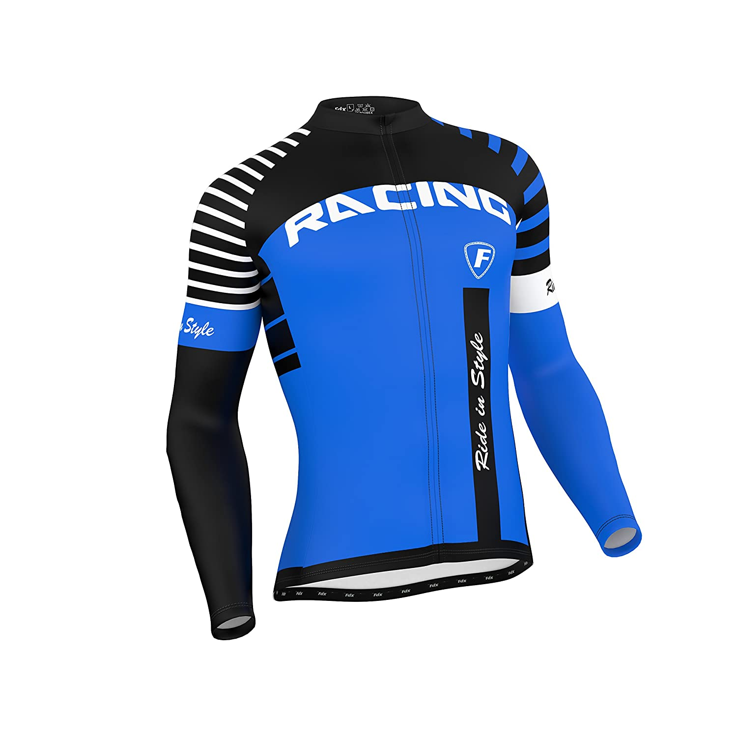 f2921b5734 FDX Mens Blaze Cycling Jersey Full Sleeve Thermal Fleece Team Racing  Cycling Top: Amazon.co.uk: Sports & Outdoors