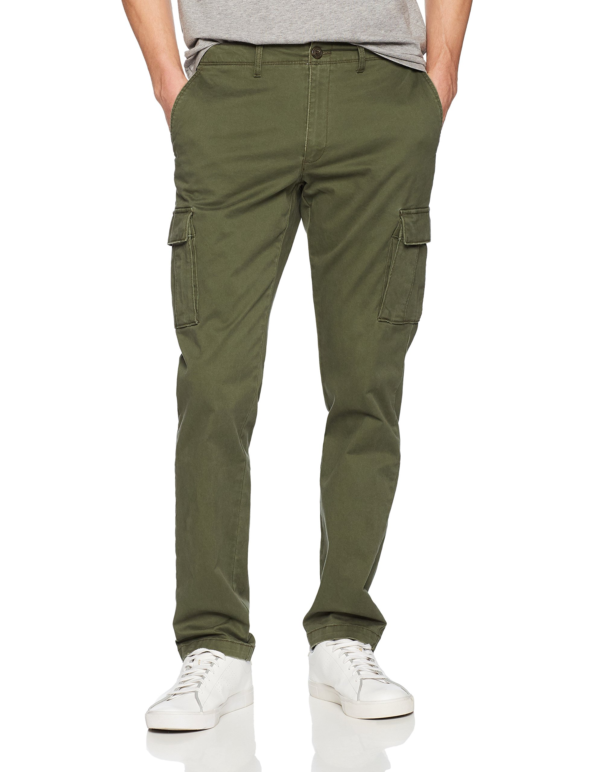 Goodthreads Men's Slim-Fit Vintage Cargo Pant, Deep Depth/Olive, 28W x 32L