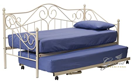 New Joseph Victorian Style 3FT Single Cream Metal Day Bed Guest Frame With Underbed Trundle