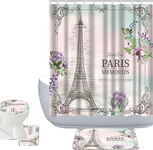 Shower Curtain Set Bathroom Waterproof Fabric /& Hooks Paris Love Eiffel Tower