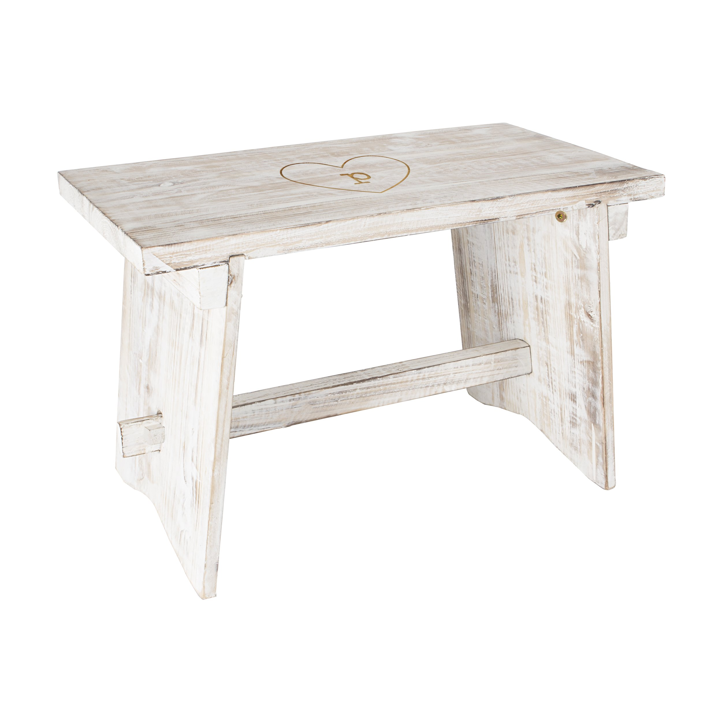 Cathy's Concepts HRT-3950-P Personalized Heart Rustic Wooden Guestbook Bench