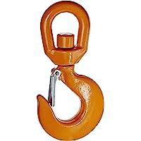 Indusco 47400961 Drop Forged Alloy Steel Swivel Eye Hook with Latch, 11 Ton Working Load Limit