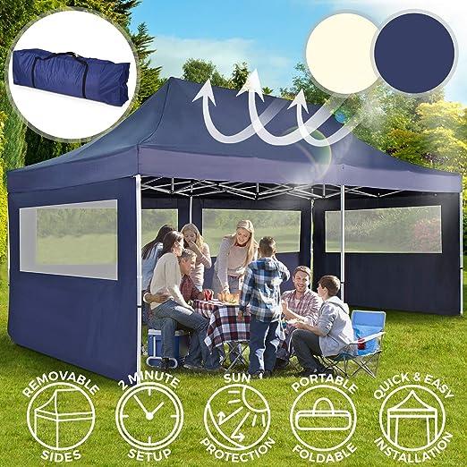 Carpa con Paredes 3x6 m - Plegable, con Protección Solar, Ideal para Fiestas en el Jardín, Color a Elegir - Gazebo, Cenador, Pabellón, Tienda Fiestas: Amazon.es: Jardín