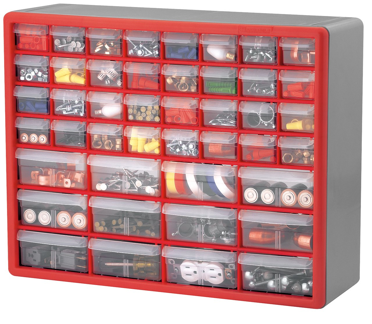 Akro Mils 10744 44-Drawer Hardware and Craft Cabinet, Red and Gray Akro-Mils