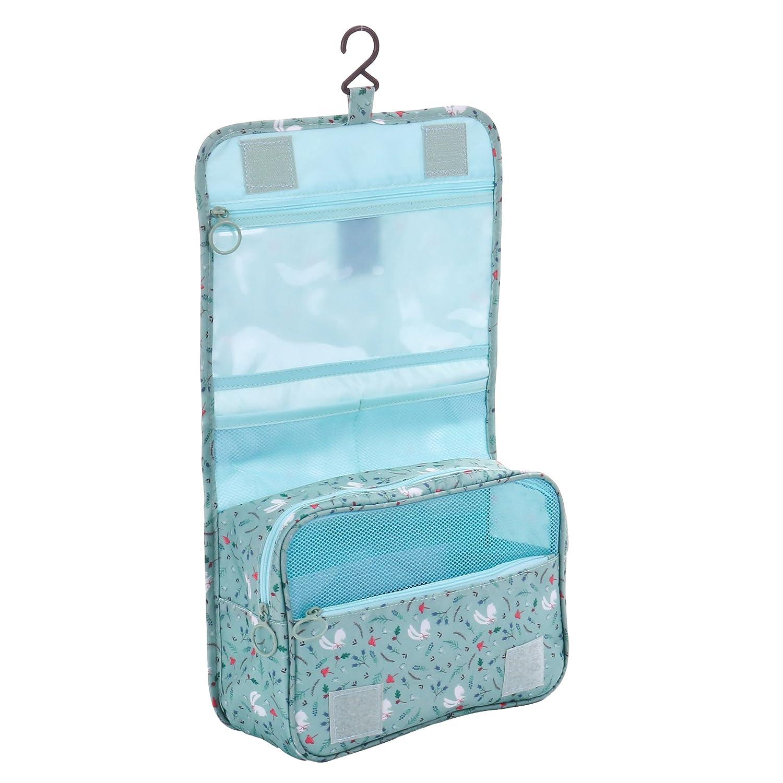 Shopper Joy Beauty Case da Viaggio da Appendere Borsa da Toilette Organizer per Uomo Donna - Blu Scuro + Dots