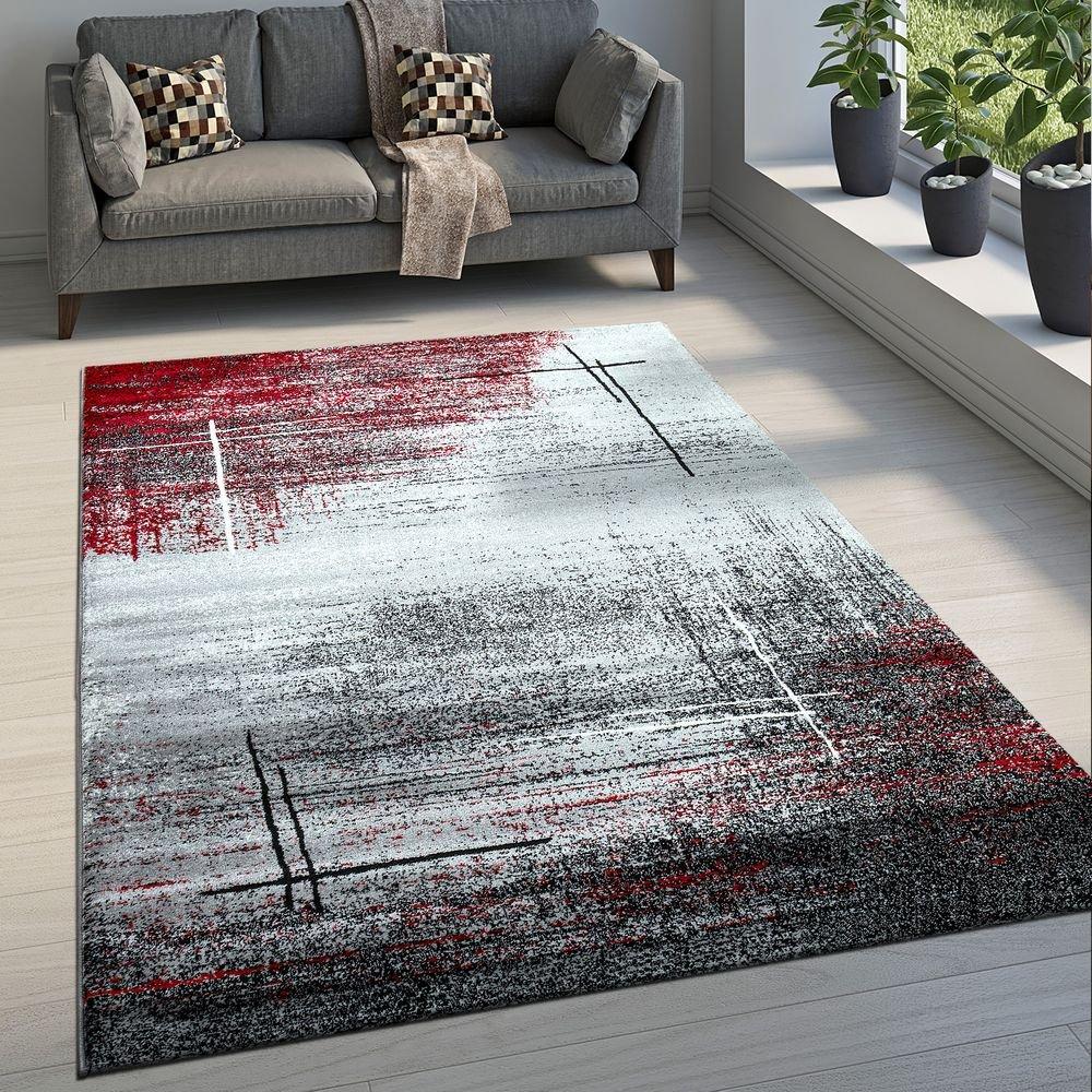Paco Home Edler Designer Wohnzimmer Teppich Kurzflor Farbverlauf Abstraktes Muster Rot, Grösse:160x230 cm