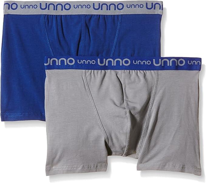 UNNO - Boxer de algodón elástico para hombre, multicolor (gris/azul), talla L: Amazon.es: Ropa y accesorios