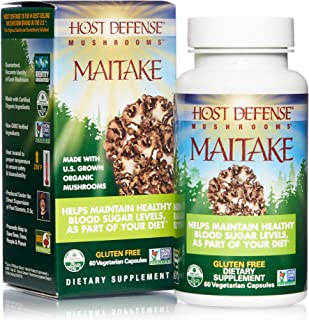 product image for Host Defense, Maitake Capsules, Promotes Normal Blood Sugar Metabolism Already Within The Normal Range, Daily Mushroom Supplement, Vegan, Organic, 60 Capsules (30 Servings)