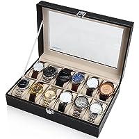 Readaeer Caja para Relojes con 12 compartimentos , Buzón Memoria con tapa de cristal negro de piel sintética