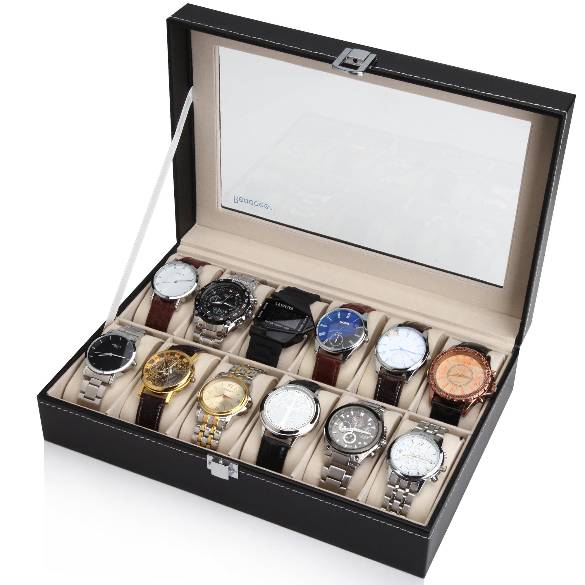 Readaeer Caja para Relojes con 12 compartimentos , Buzón Memoria con tapa de cristal negro de