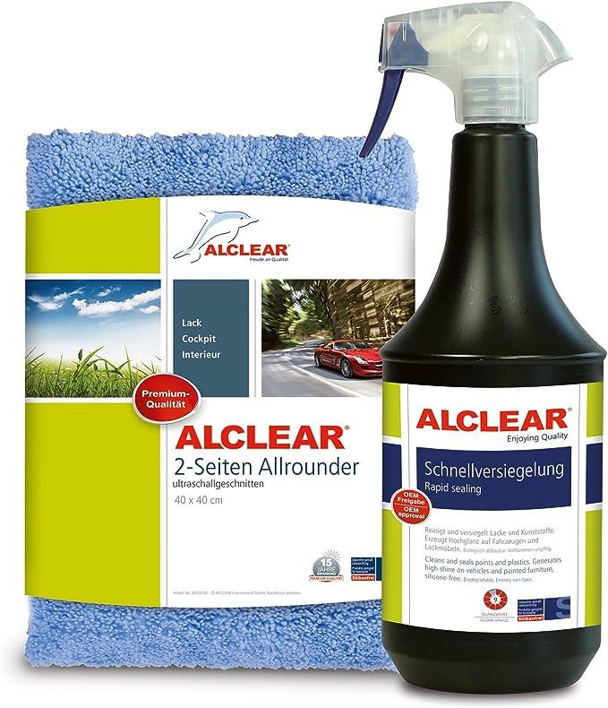 Alclear 71100sv Lack Schnellversiegelung 1 Liter Inkl Mikrofaser Auto Poliertuch Für Autopflege Motorrad Fahrrad Auto