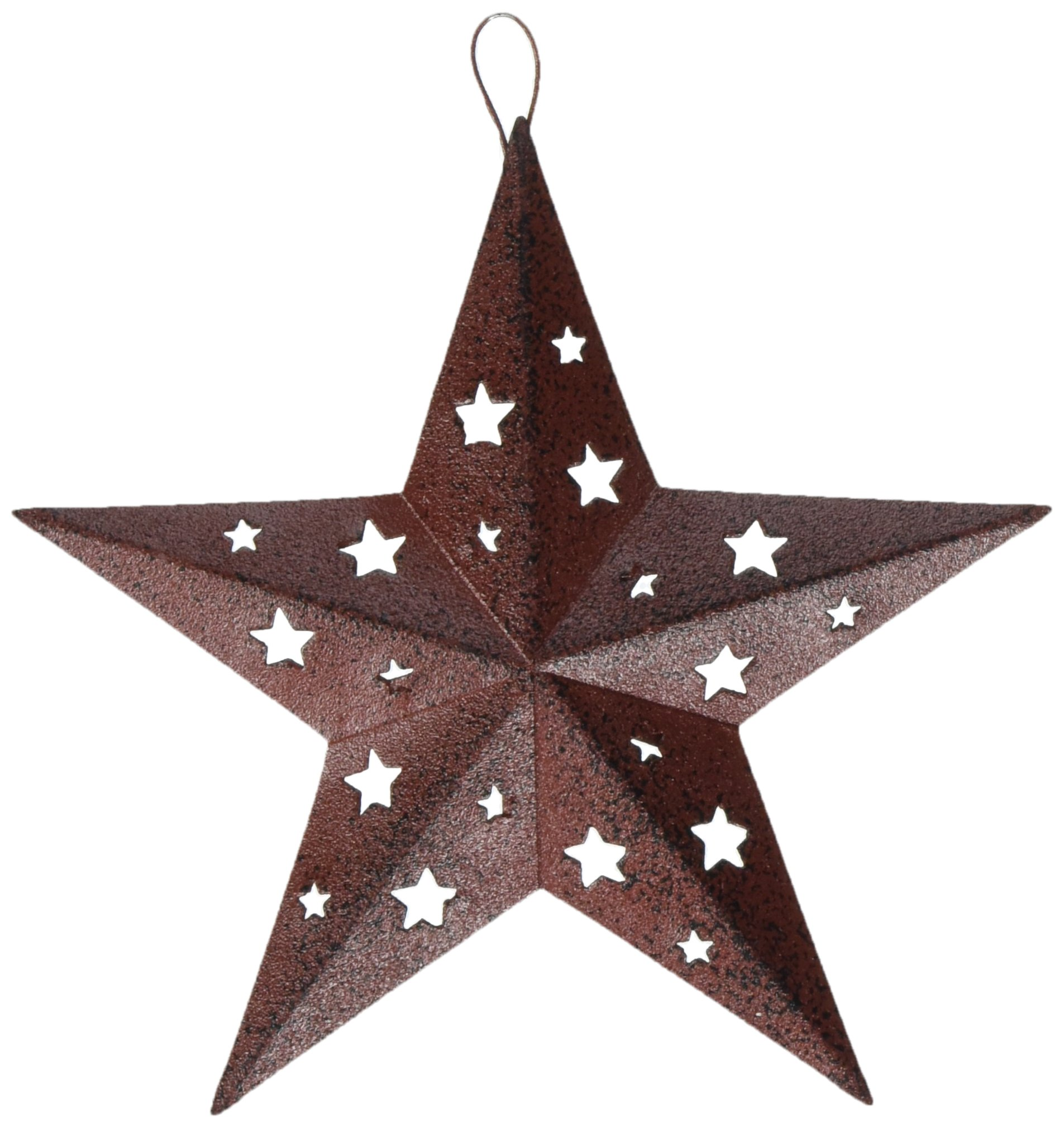 Craft Outlet 6-Inch Red Tin Star with Cutout Ornament, Large, Set of 6
