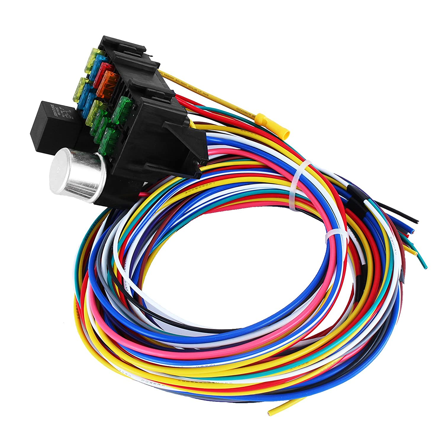 Mophorn 12 Circuit Wiring Harness Fuses Universal Spdt Relay Here Is The Proper Way Wire Street Rod Muscle Car Hot Automotive