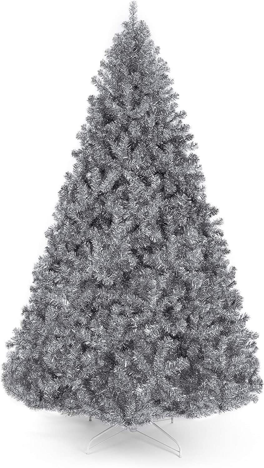 Amazon Com Best Choice Products 7 5ft Artificial Silver Tinsel Christmas Tree Holiday Decoration W 1 749 Branch Tips And Foldable Stand Home Kitchen